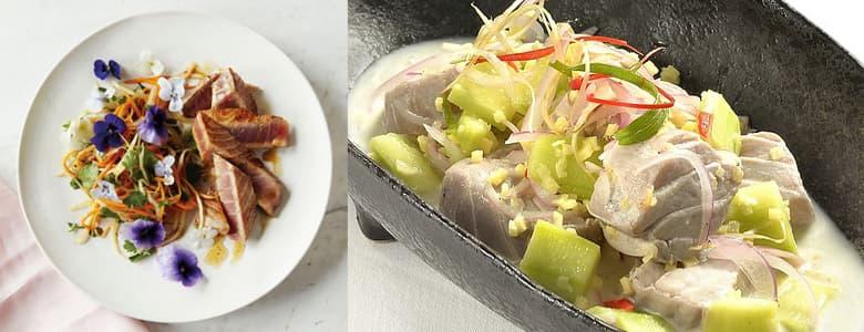 Combinar pescado azul con verduras vegetales
