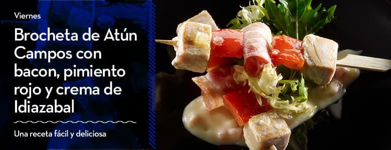 Recetas Campos para Semana Santa: Brocheta de Atún Campos con bacon, pimiento rojo y crema de Idiazabal