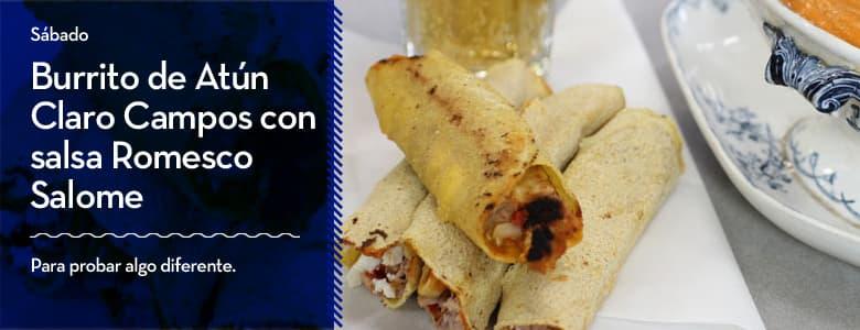 Recetas Campos para Semana Santa: Burrito de Atún Claro Campos con salsa Romesco Salome