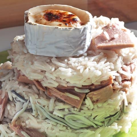 Timbal de Atún Claro Campos, arroz y gulas